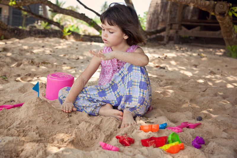 Portrait of cute asian girl on the beach stock image