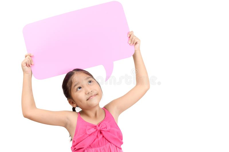 Portrait of cute asian girl holding empty pink speech bubble stock image