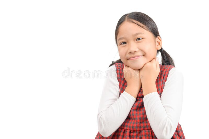Portrait of cute asian girl smile isolated on white background stock image