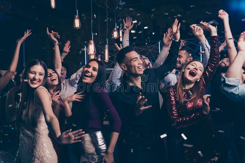 Portrait cute attractive lovely youth millennial person laugh excited funny funky motion having fun free time raise stock photography