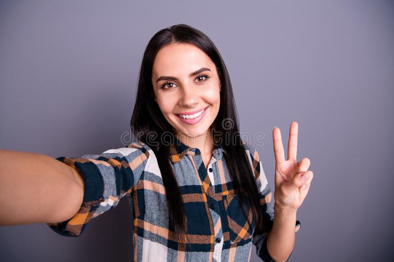Portrait cute attractive person youth people glad content make photos v-signs blog excited enjoy relax rest weekend free royalty free stock photo