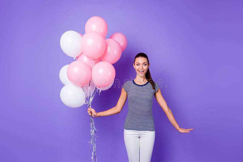 Portrait cute attractive youngster astonished impressed incredible surprise bachelorette enjoy rejoice content scream royalty free stock photo