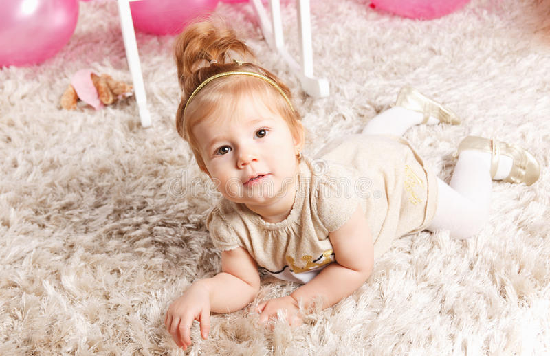 Portrait of a cute baby girl stock photo
