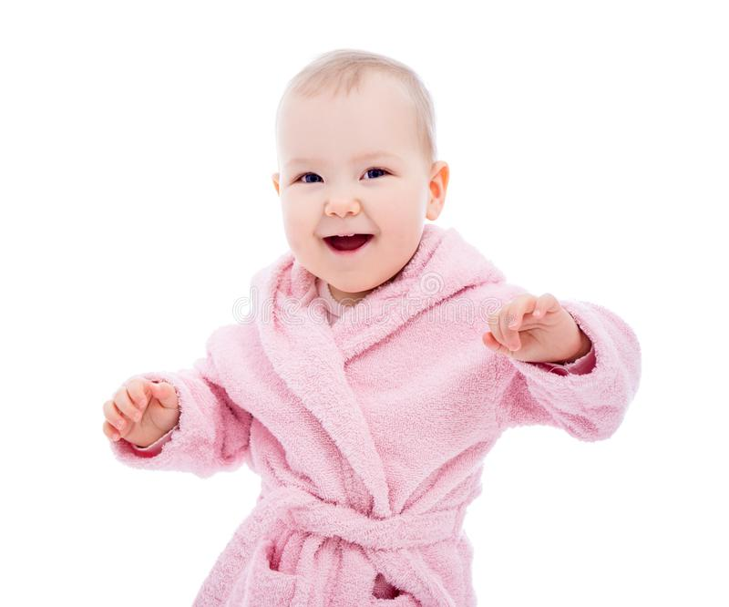 Portrait of cute baby girl in pink bathrobe after bath isolated on white. Background royalty free stock images
