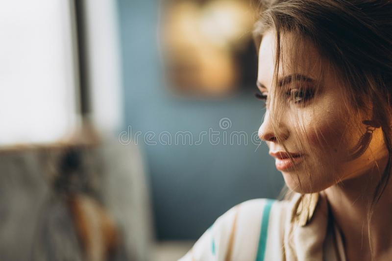 Portrait of a cute beautiful girl royalty free stock photography