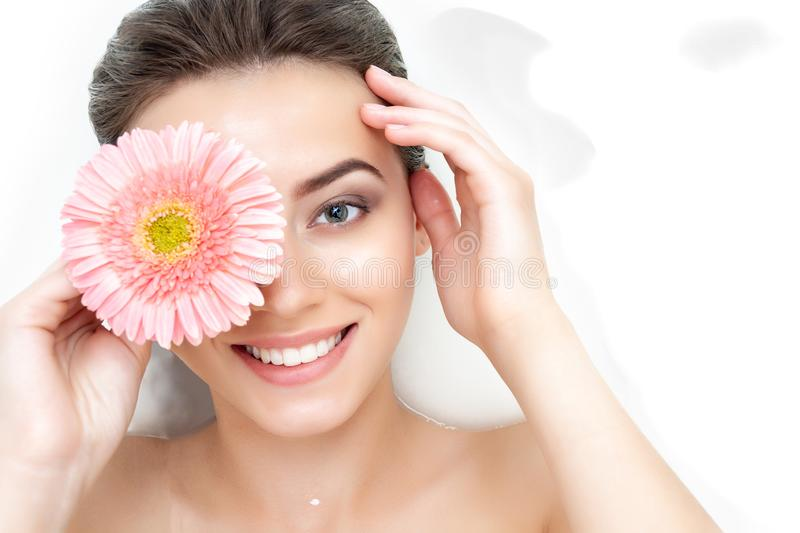 Portrait of woman taking spa bath. Skin beauty health care concept stock photography