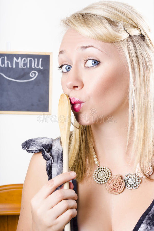 Download Surprised Female Kitchen Cook Hiding Secret Recipe Stock Photo - Image of cookery, enigmatic: 29722006