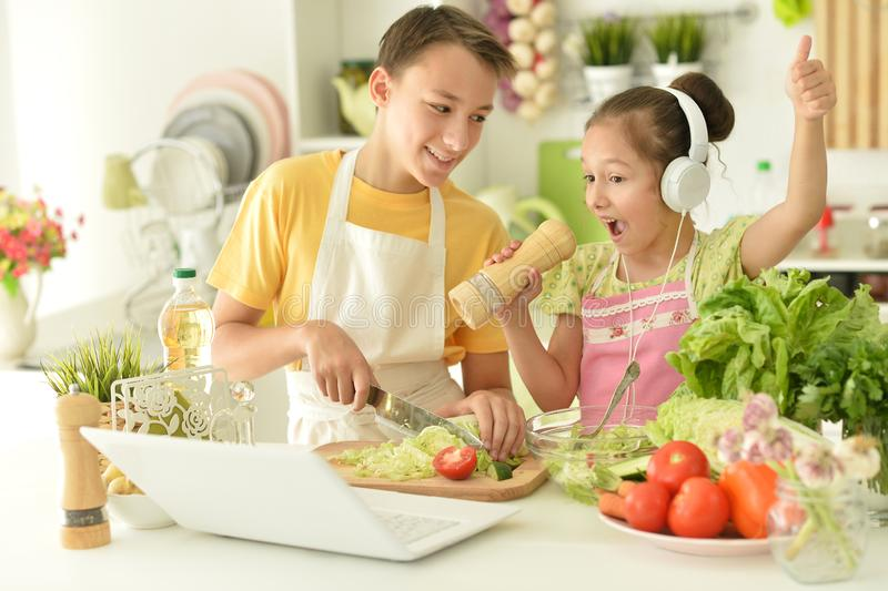 Portrait of cute brother and sister cooking royalty free stock photo
