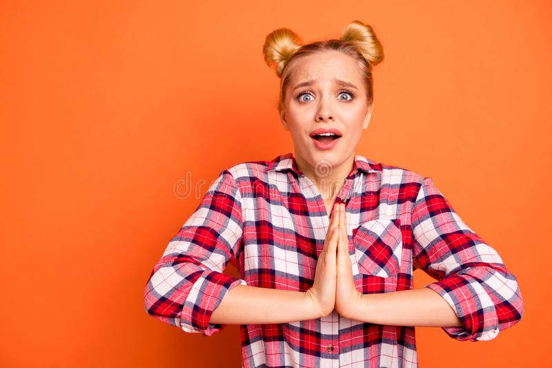 Portrait of cute charming disappointed lady wait expect dream desire expect gift present grimace dressed checked shirt. Portrait of cute charming disappointed stock images