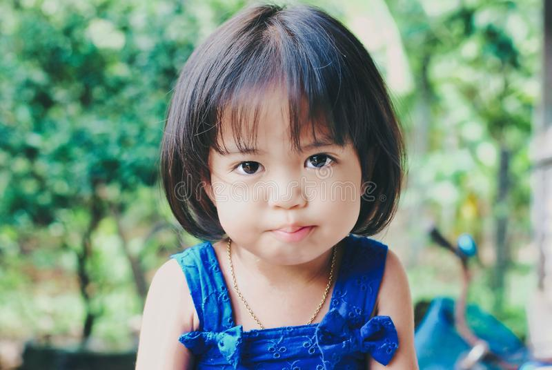 Portrait of child looking serious stock image