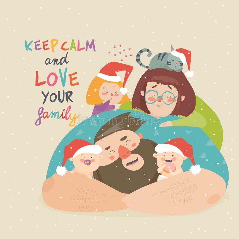 Portrait of cute Christmas family. Mother, father, children stock illustration
