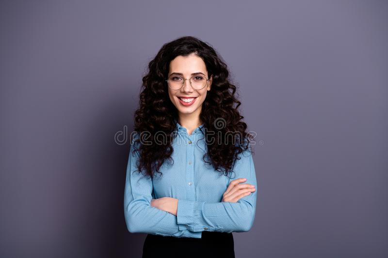 Portrait cute confident charming lady have enterprise freelance feel satisfied ready solve solution trouble problem. Portrait cute confident charming lady have royalty free stock images