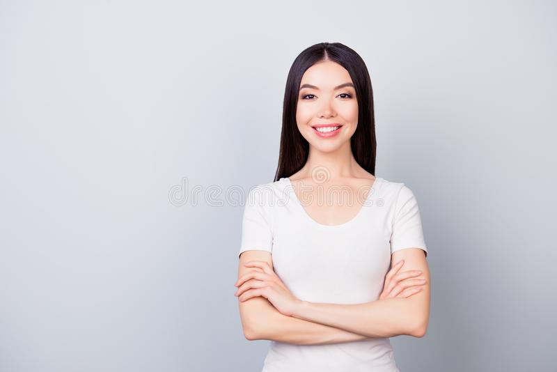 Portrait of cute confident pretty woman with beaming smile with royalty free stock photos