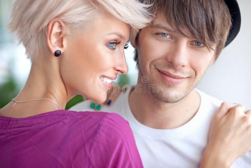Portrait of a cute couple stock photos