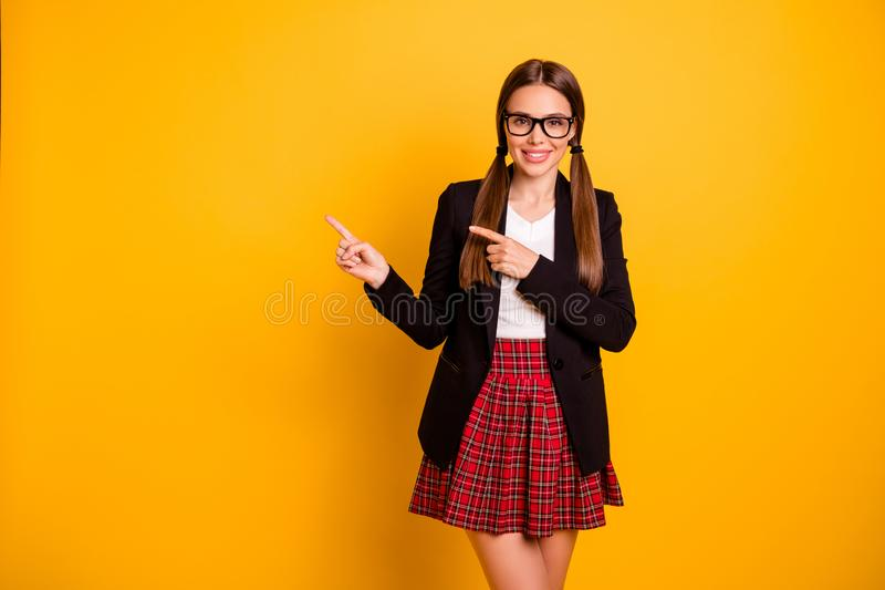 Portrait cute dreamy promoter choose decide follow way attention graduate feedback ads eyewear eyeglasses pigtail. Ponytail, checked plaid tail white pullover stock images