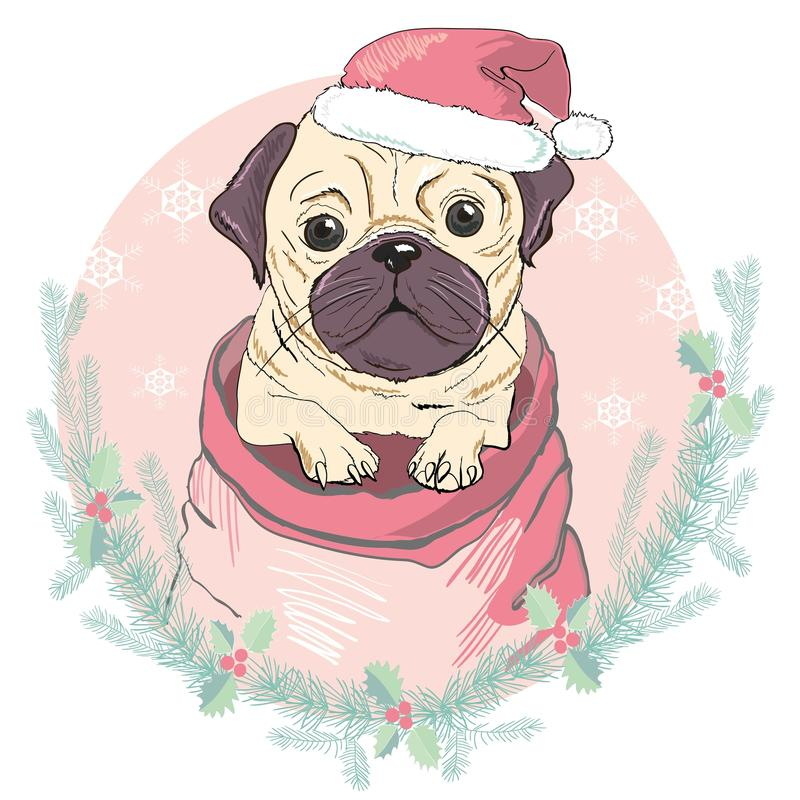 Portrait of cute french bulldog in red christmas hat on blue background. Vector illustration. Santa Claus. New Year`s vector illustration