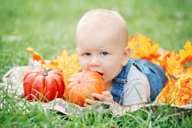 Portrait of cute funny adorable blond Caucasian baby boy with blue eyes in tshirt and jeans romper lying on grass field meadow royalty free stock photos
