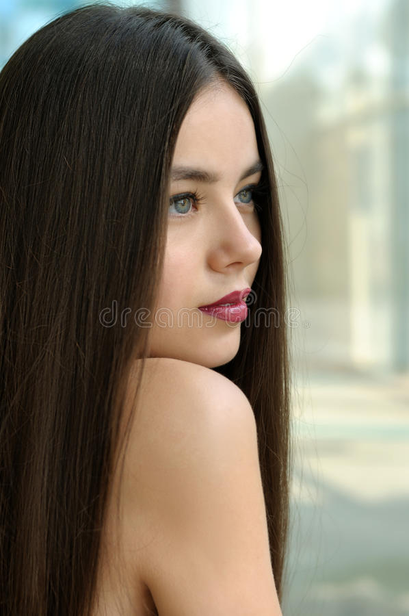 Portrait of a cute girl with bared shoulders royalty free stock images