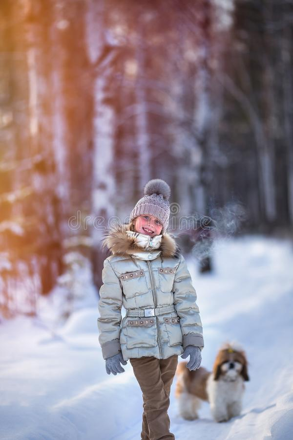 Portrait of a cute girl on a cold day in the forest at sunset. Dog in the background royalty free stock image