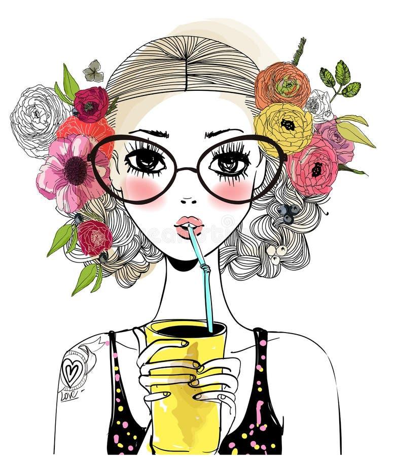 Portrait of cute girl vector illustration