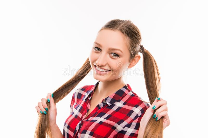 Portrait of cute girl with funny bunches stock image