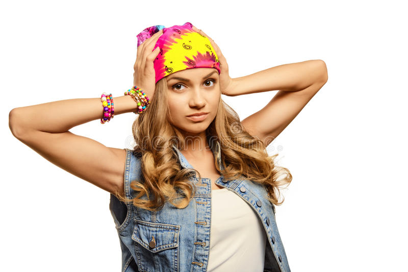Portrait of cute girl in jeans vest stock photography