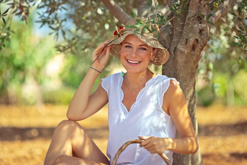 Happy gardener girl stock images