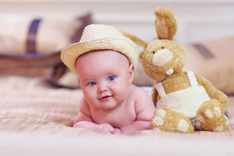 Portrait of cute infant baby, three months old royalty free stock photos