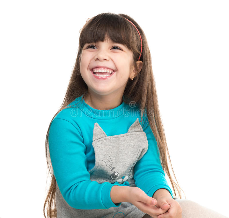Portrait of cute laughing little girl royalty free stock images