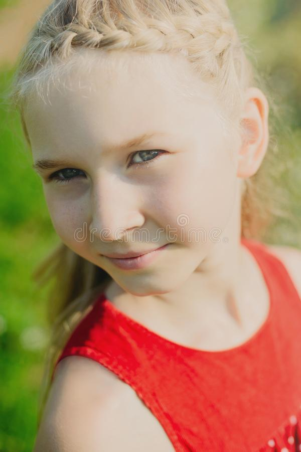 Portrait of cute little blonde girl royalty free stock images