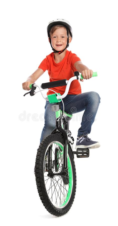 Portrait of cute little boy with bicycle stock photo