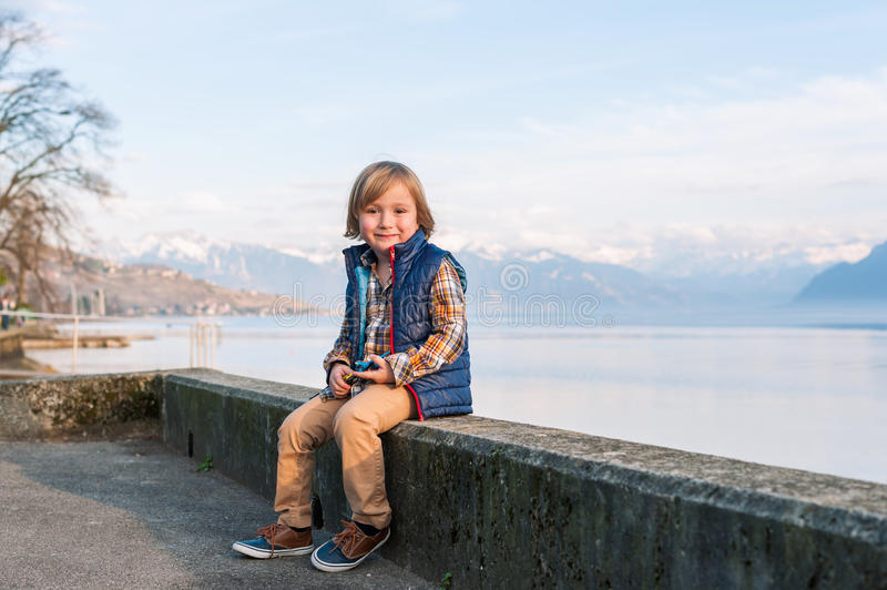 Portrait of a cute little boy stock photos