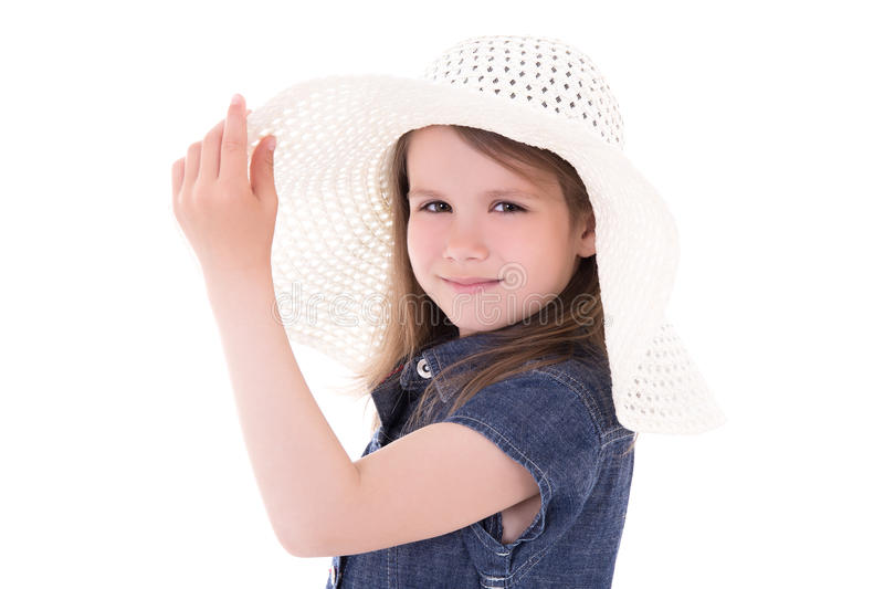 Portrait of cute little girl in big summer hat isolated on white stock photos