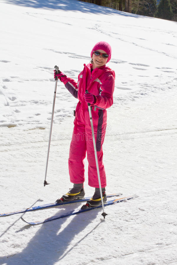 Portrait of cute little girl cross-country skiing stock photos