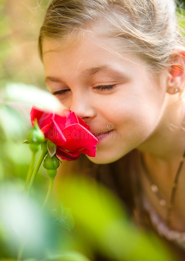 Portrait of a cute little girl smelling rose. Outdoor shoot royalty free stock photography