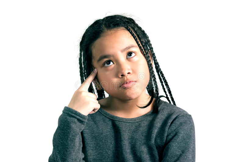 Portrait of Cute little girl thinking. Deeply about something with hand on temples,clipping path stock photos