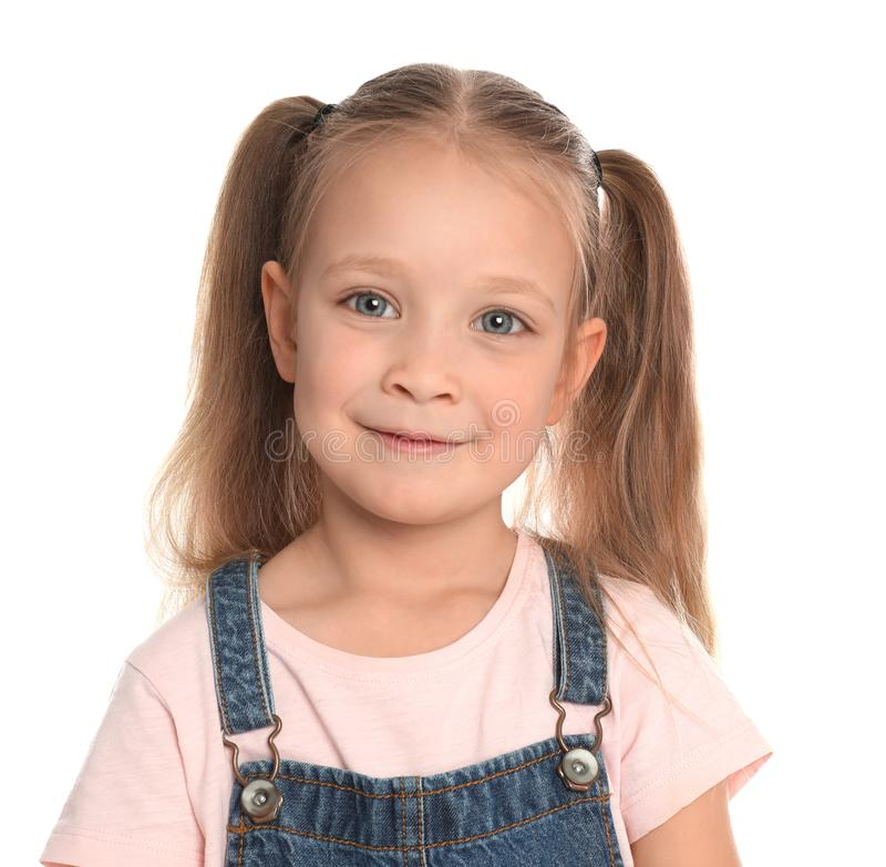 Portrait of cute little girl on white royalty free stock images
