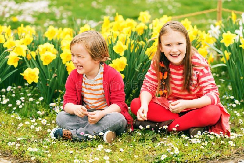 Portrait of cute little kids royalty free stock photo
