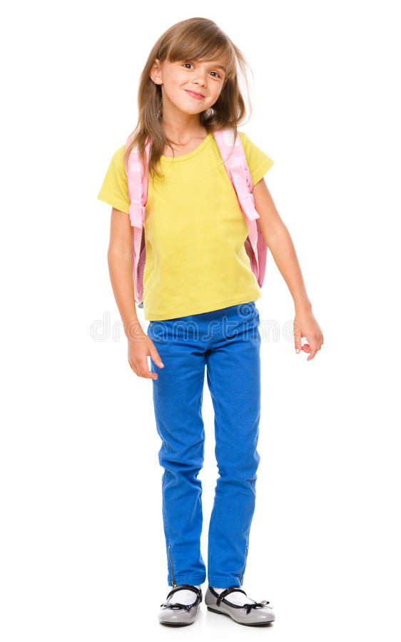 Portrait of a cute little schoolgirl with backpack stock photo