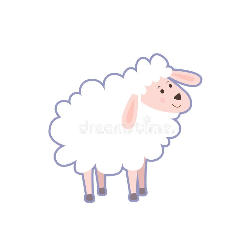 Portrait of cute little sheep stock illustration