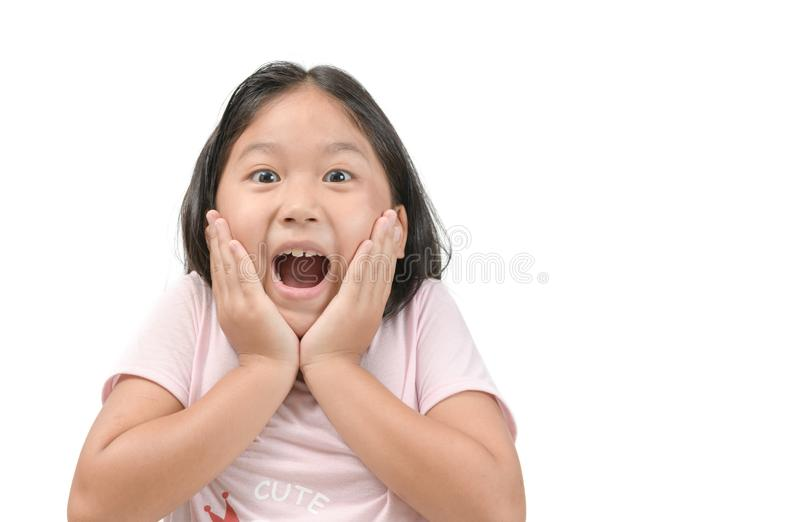 Portrait of a cute little surprised child girl stock images