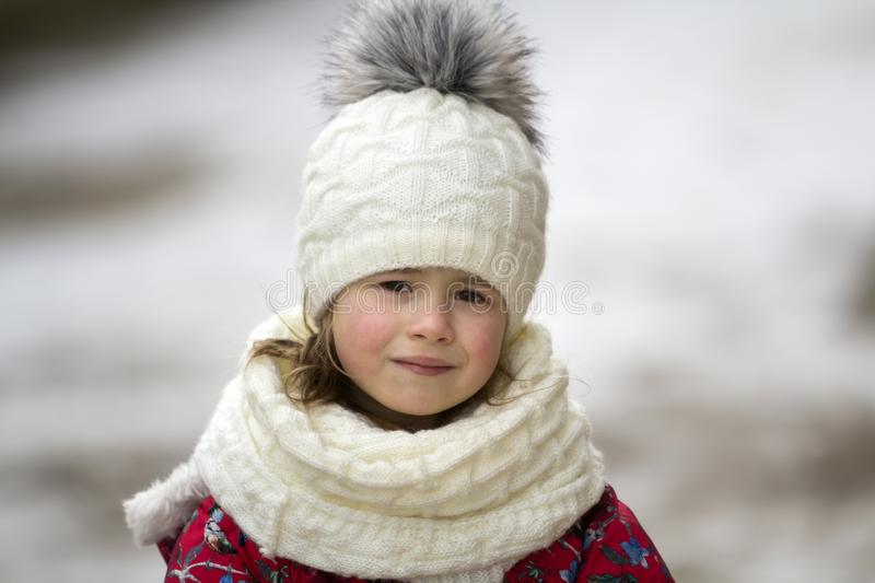 Portrait of cute little young funny pretty smiling blond child g royalty free stock images