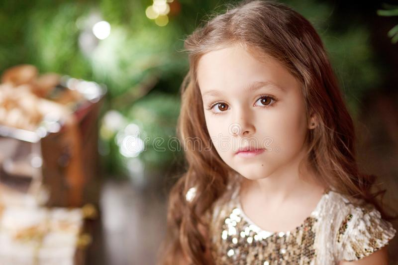 Portrait of a cute long-haired little girl in dress on background of Christmas tree and lights. Christmas and New Year celebration. Concept. Winter holidays stock photos