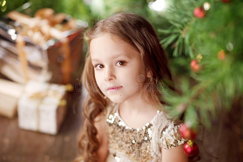 Portrait of a cute long-haired little girl in dress on background of Christmas tree and lights. Christmas and New Year celebration. Concept. Winter holidays royalty free stock photo