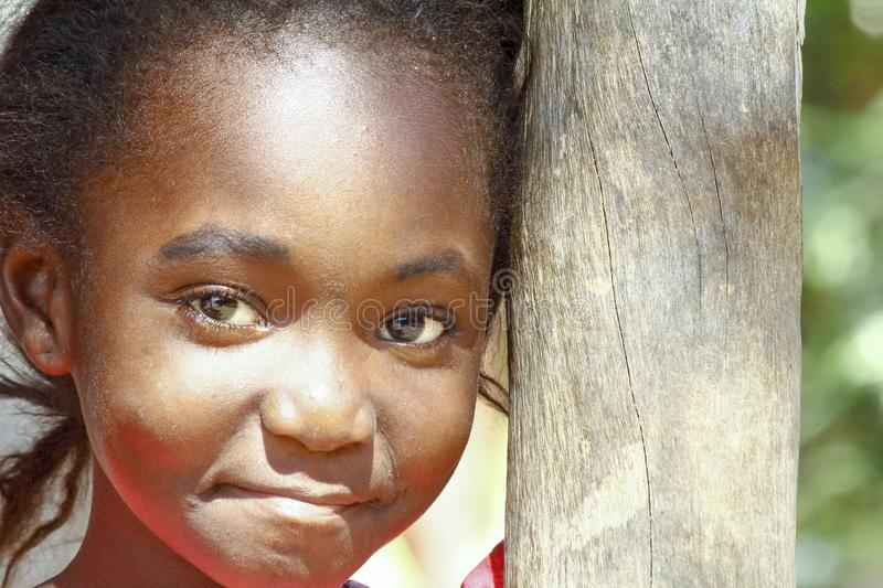 Portrait of cute malagasy girl stock photo