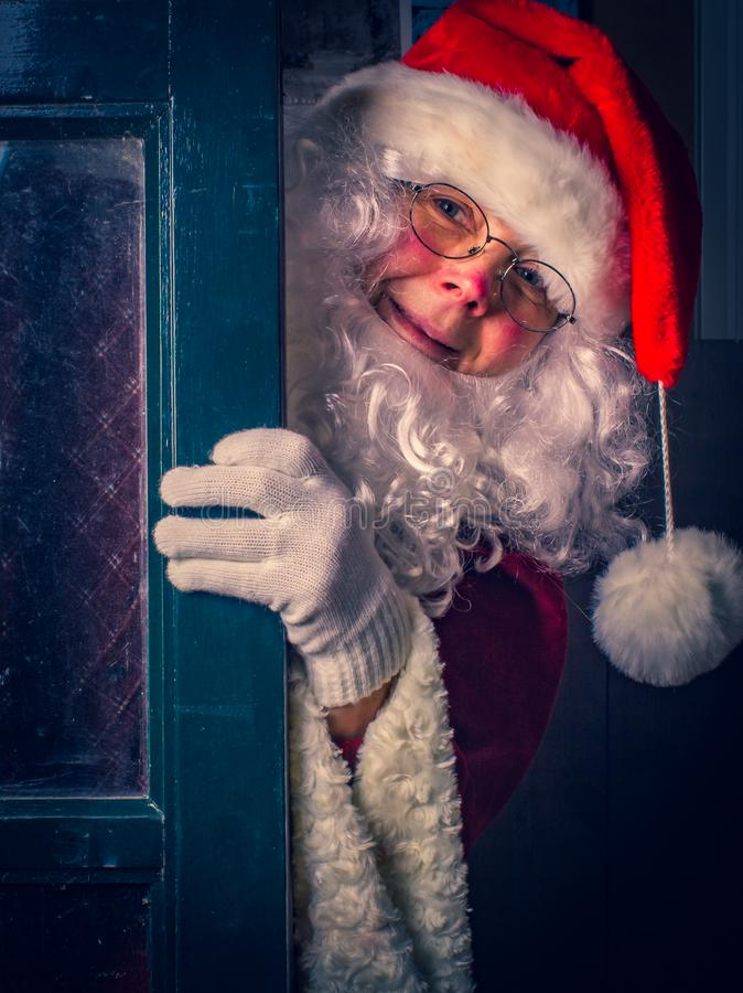 Portrait of cute Santa Claus at home, close-up stock images