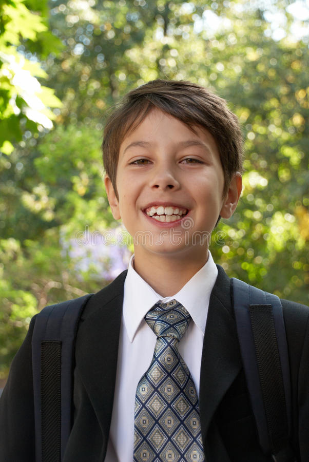 A portrait of cute schoolboy royalty free stock images