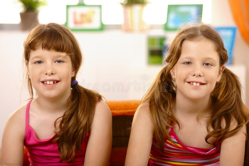 Portrait of cute schoolgirls. stock photography