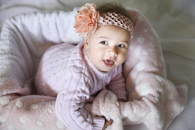 Portrait of cute baby girl stock images