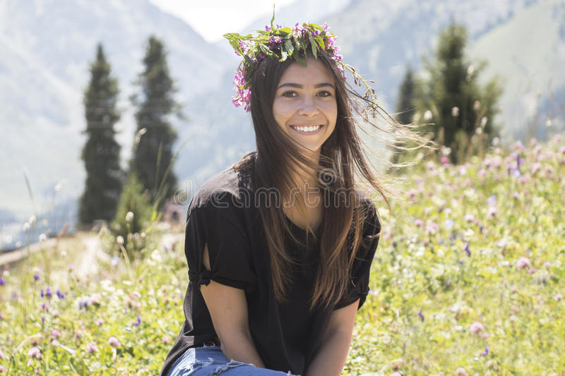 Portrait of a cute smiling girl stock photos